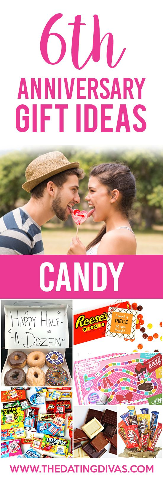 6th Anniversary Gift Ideas for your CANDY Anniversary. Such sweet, cute, and creative ideas!