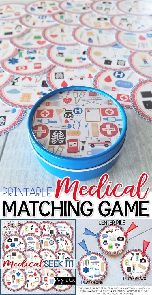 photograph about Game of Life Career Cards Printable called Seek out IT! Healthcare PRINTABLE Matching Activity baby daily life