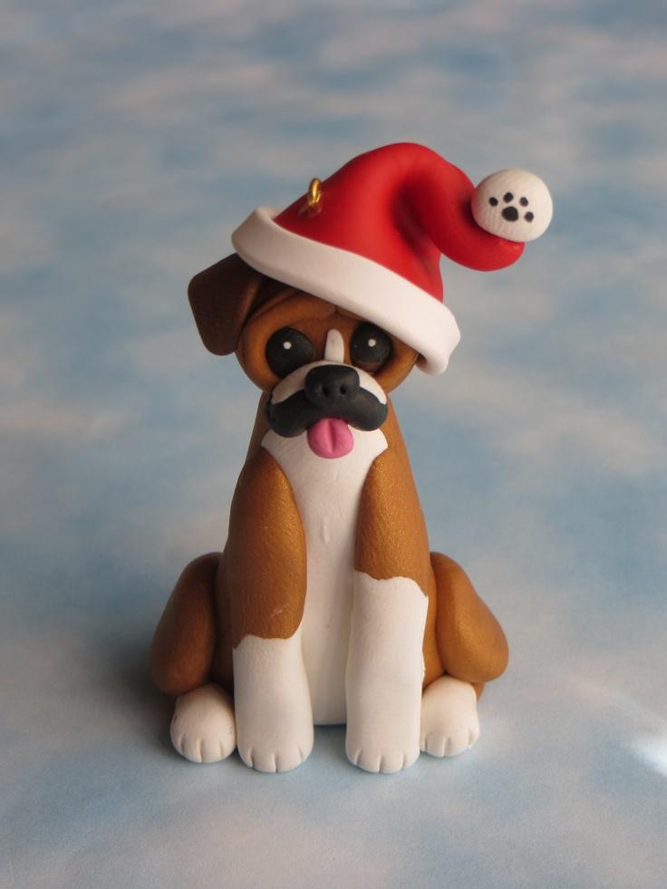 Polymer Clay Boxer Dog Christmas Ornament Figurine.