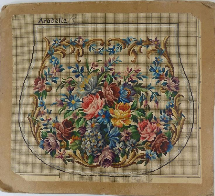 Antique Vintage Berlin Woolwork Chart Hand Painted Tapestry Embroidery Wool X | eBay