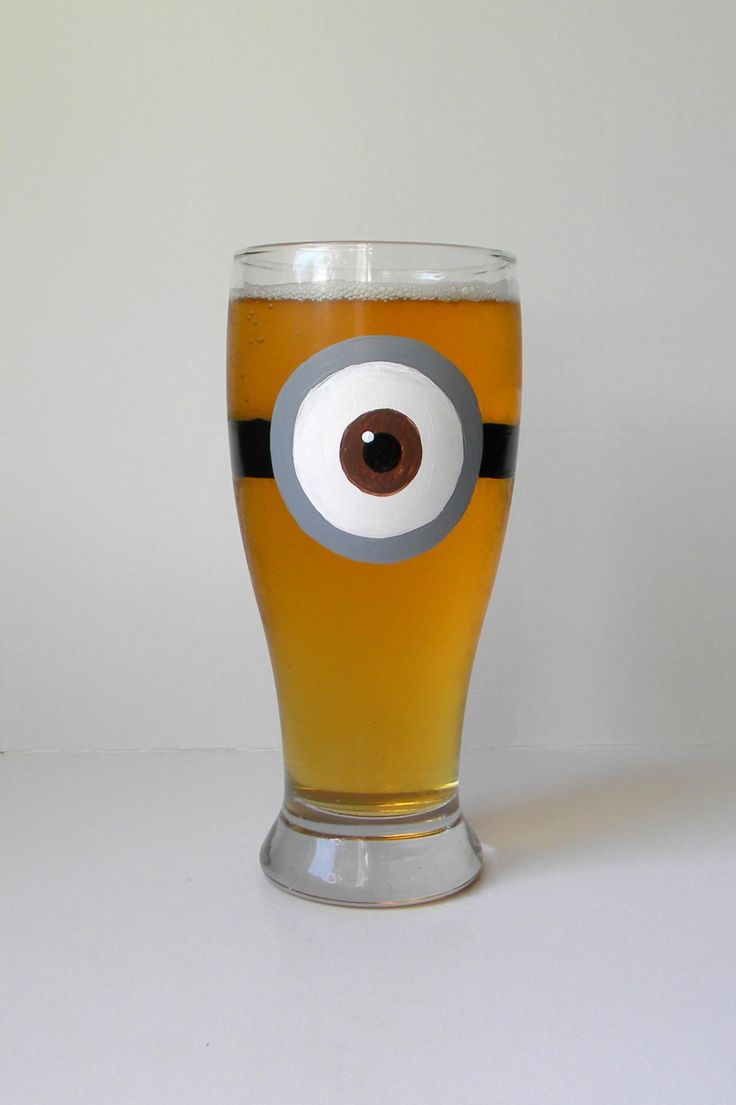 Minion Inspired Beer Glass Hand Painted Beer by EmbellishCraft