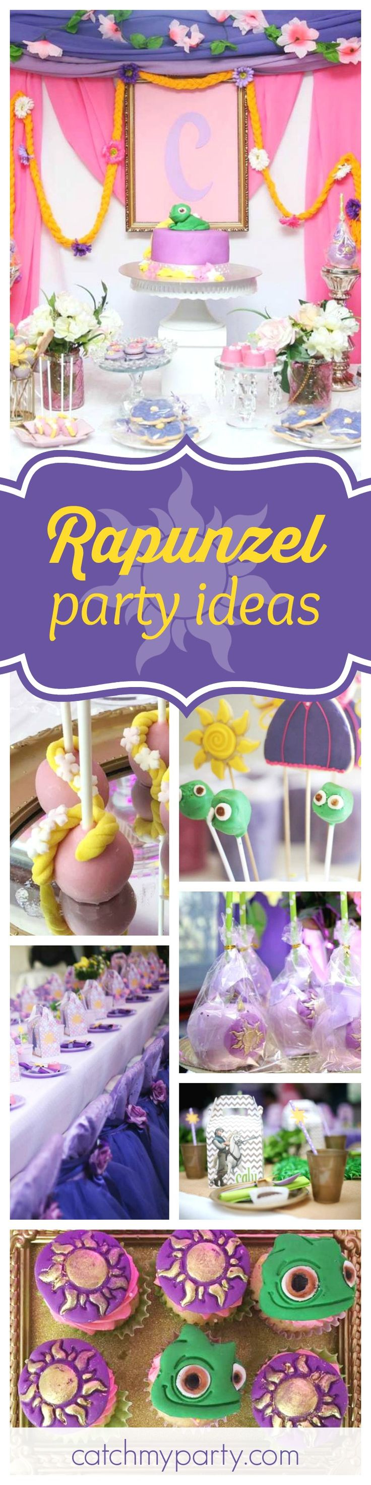 Don't miss this beautiful Rapunzel birthday party. The lizard Pascal cake pops are so cute!! See more party ideas and share yours at CatchMyParty.com