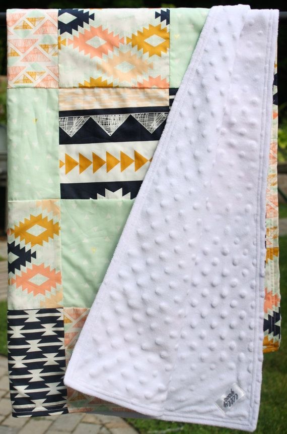 Tribal Baby Quilt Arizona southwestern patchwork by lillygrove. I love the beautiful colors and patterns in this baby quilt, and that white minky backing is to die for.