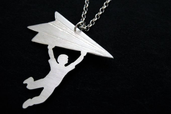Sterling Silver Boy with Paper Airplane Necklace by OffbeatMelody on hellopretty.co.za