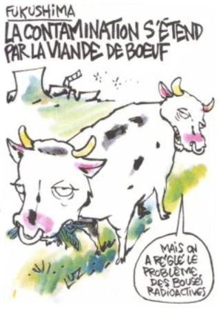 Charlie Hebdo shows cows altered by radiation