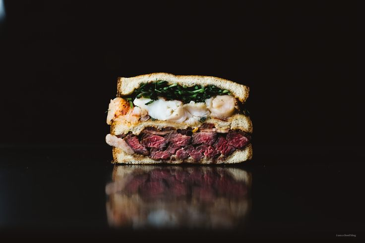 Steak and Lobster sandwich on client Cobblestone Bread Co Million Dollar White Bread! www.iamafoodblog.com @AOL_Lifestyle @cbcbreads #grownupsandwiches