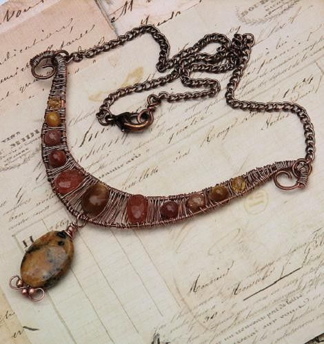 Artisan Sunstone Necklace Copper Wire Wrapped Woven Dendritic Opal   OwlHollowStudio - Jewelry on ArtFire