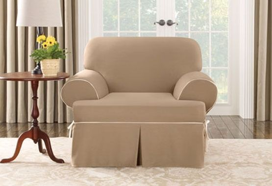Chair Cocoa tan Cotton canvas T-cushion w/piping One Piece Slipcover sure fit #SureFit #Colonial