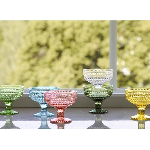 Truly timeless design. Named Kastehelmi (dewdrop) after the bubble glass detailing, this collection was originally produced from 1964-1988 and brought back to celebrate Oiva Toika's 50 year mark as a designer. iittala Kastehelmi Dewdrop Lemon Footed Bowl - $65