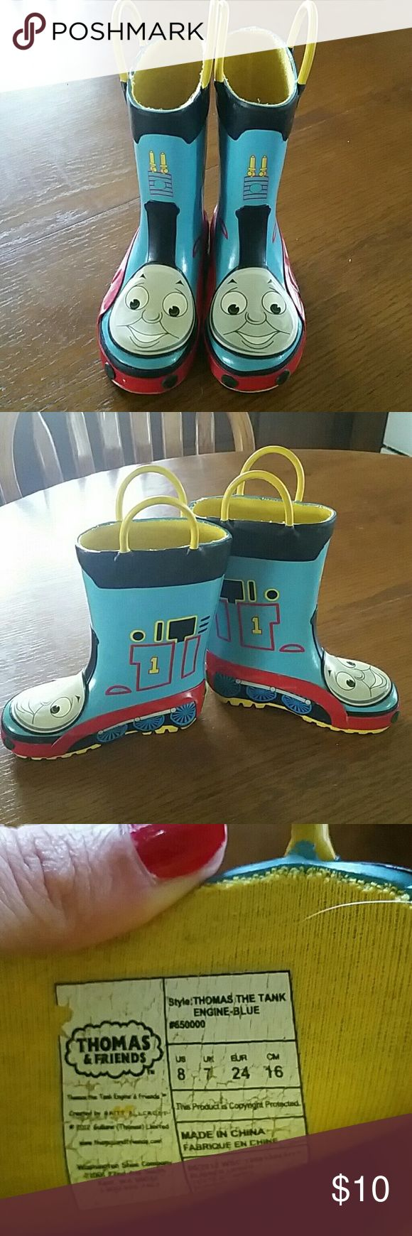 Thomas the train rain boots. Hardly worn. In perfect condition! They don't fit my son like I thought! Bundle for an extra discount! Thanks for looking! Western Chief Shoes Boots