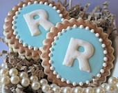 Preppy Single Monogram Decorated Sugar Cookies (12)