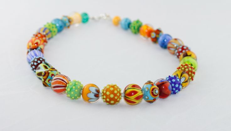 Colorful summer-feeling glass beads