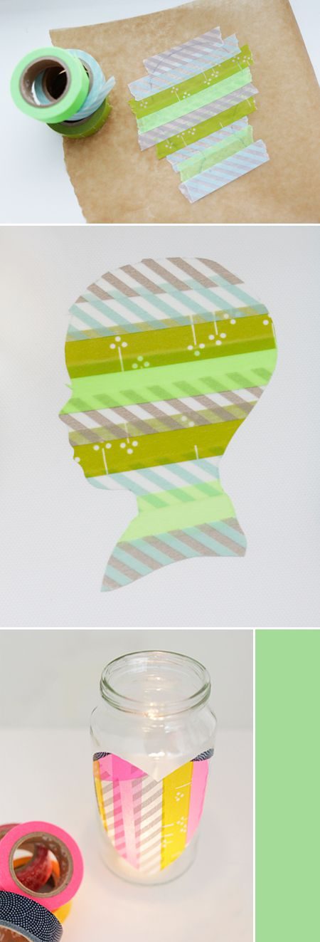Washi Tape Silhoutte DIY: Crafts Ideas, Diy Washi, Tape Silhouette, Silhouettes, Tape Ideas, Masks Tape, Washi Silhouette, Paper Crafts, Washi Tape Crafts