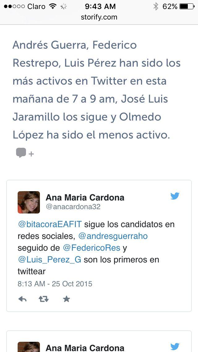 Una pequeña muestra del storify en el cual publicamos un reporte de cómo estuvo el twitter de cada uno de los candidatos a la Gobernación de Antioquia