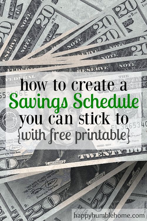 How to Create a Savings Schedule you can stick to with free printable. This helped me save so much money! This post tells you exactly what to do to save and the free schedule is awesome!