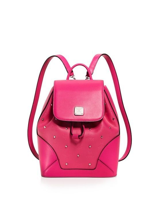 NWT MCM Claudia Pink Odeon Print Canvas Leather Studded Backpack Bag New  ($820) #MCM #Backpack