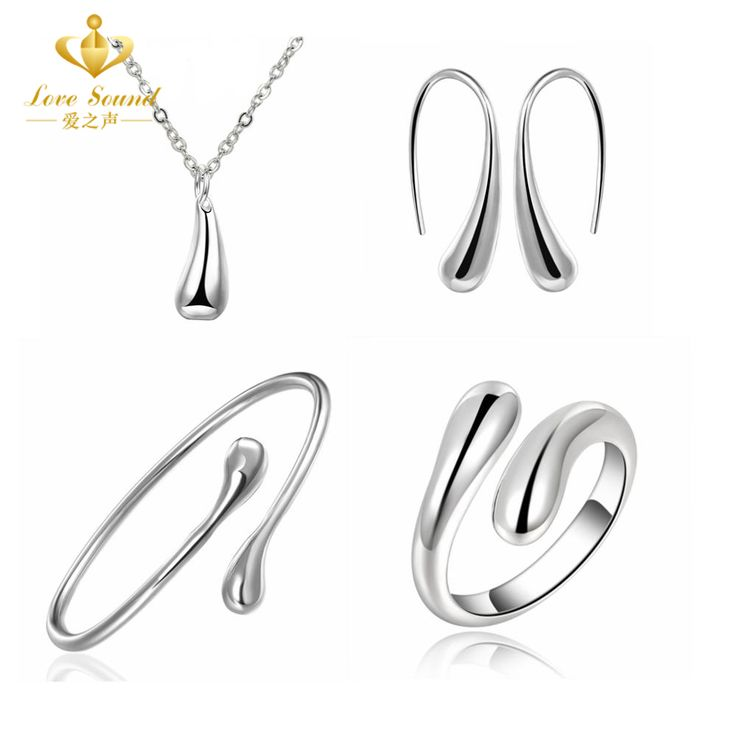 Women's Fashion Jewelry Sets Wedding Silver Plated Water Drop Set Bangles Necklaces Rings Earrings for Women Christmas Gift