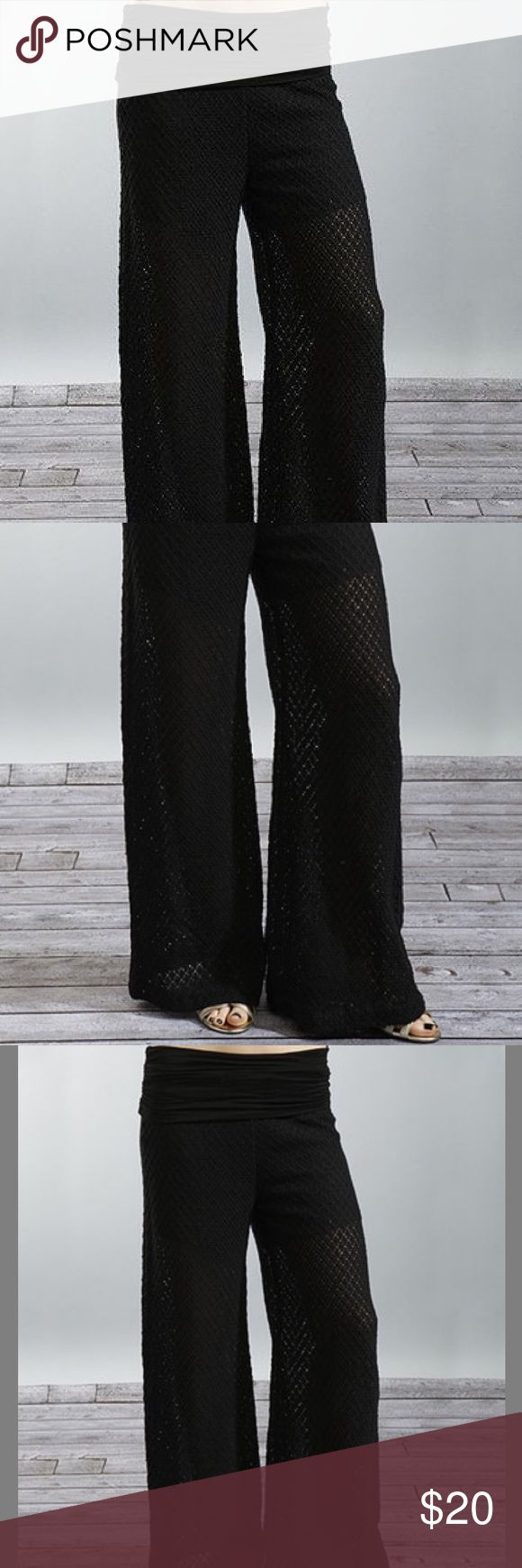 Chic Black Pointelle Pants NWOT! This soft pair's not just for lounging around the house. Featuring an open pointelle knit and flattering fold-over waistband, it's all a boho-chic lady needs for an eye-catching ensemble. Size: S  100% cotton Pants