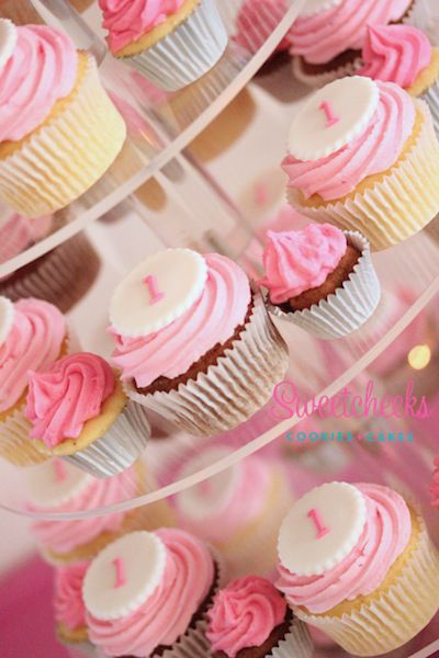 Pink first birthday cupcakes. Cupcake tower. Delicious Cupcakes Delivered in Melbourne - Sweetcheeks Cookies & Cakes