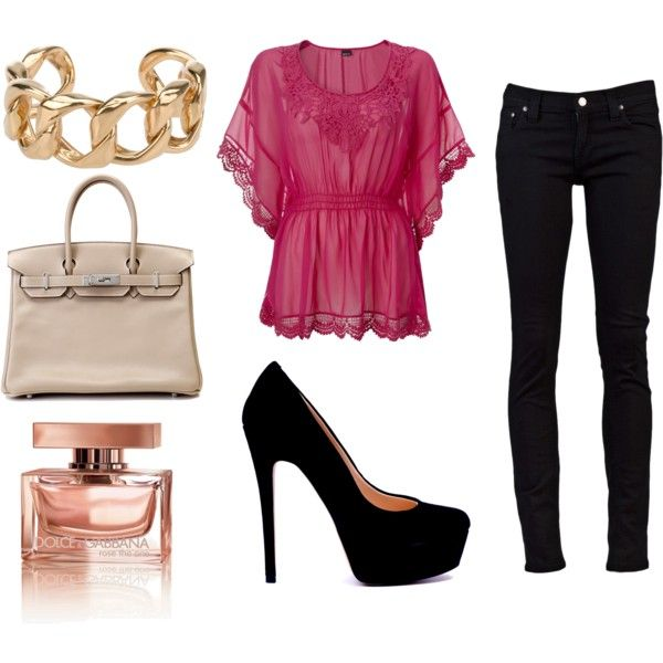Sexy!: Date Night Outfit, Style, Girls Night, Fashionista Trends, Date Outfit, High Heels, Black Jeans, Pink Shirts, Pink Black