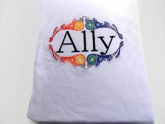 GLBTQ Ally shirt Rainbow LGBT Ally shirt Gay by SewNerdyGifts