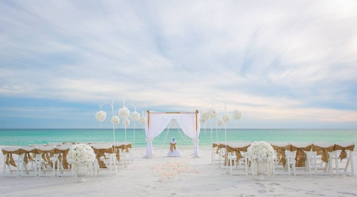 Destin beach wedding set-up.