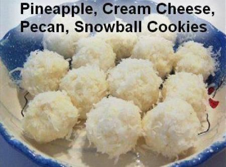 NO BAKE - Cream Cheese, Pineapple, pecans rolled in Coconut, Snowball's Recipe | Just A Pinch Recipes