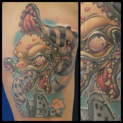 Finished this #beetlejuice #sandworm #tattoo today! Sarah, you rock! #beetlejuicetattoo #newschool #newschooltattoo #eternalink #satx #dandylandtx #colortattoo #cartoontattoo #texastattoos #sanantoniotattoos #tattoosnob (at Dandyland Custom Tattoo...