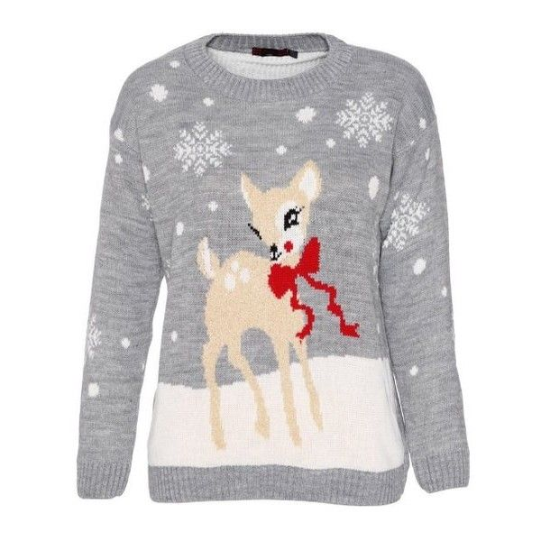 Cute Young Deer Ladies Christmas Jumper ($10) ❤ liked on Polyvore featuring tops, sweaters, deer print sweater, christmas jumpers, christmas sweater, christmas tops and jumper top
