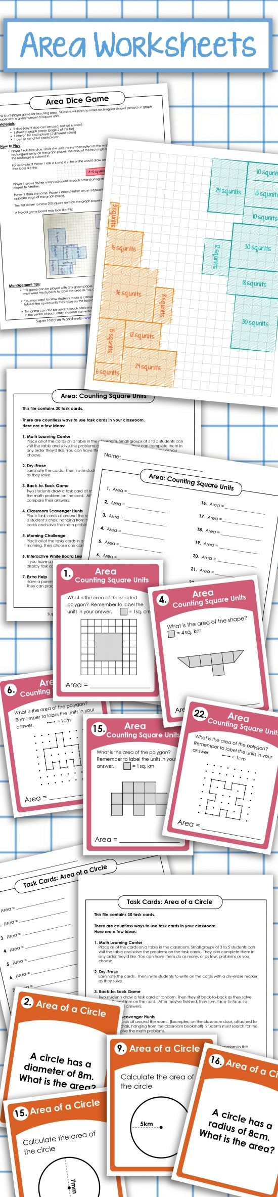 Print out area activities from #superteacherworksheets! Our printable #math resources include basic area, area of triangles, area of circles, area of rectangles and squares, area of parallelograms, surface area, and more!   Browse our #area worksheets today!