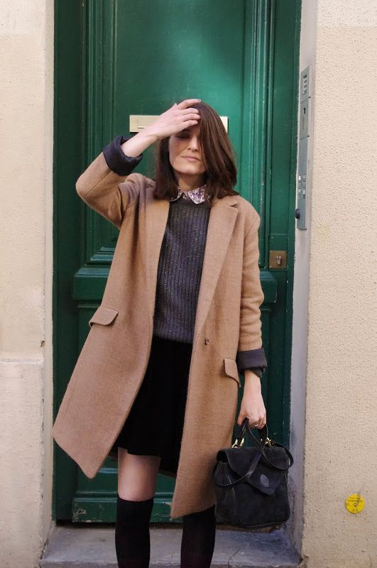 collared shirt + grey sweater + black miniskirt + camel coat + black suede OTK boots