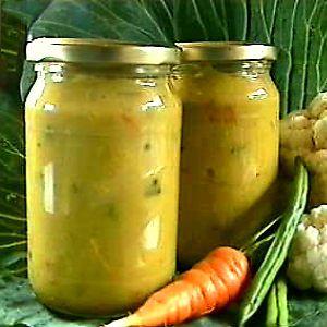 De Kooktips - Piccalilly circa een kilo groente 1 siepel van 100 gr 350 gr bloemkool of broccoli 250 gr komkommer of augurk 150 gr worteltjes  150 gr sperzieboontjes 1.3 liter azijn  papje  0.5 liter water 100 gr bruine basterdsuiker 100 gr kleefrijstmeel 100 gr tapiocameel 1.5 el zout afgestreken 1 volle tl gemberpoeder, djahe 2 volle tl kerrie 4 volle tl koenjit 6 volle tl mosterdpoeder