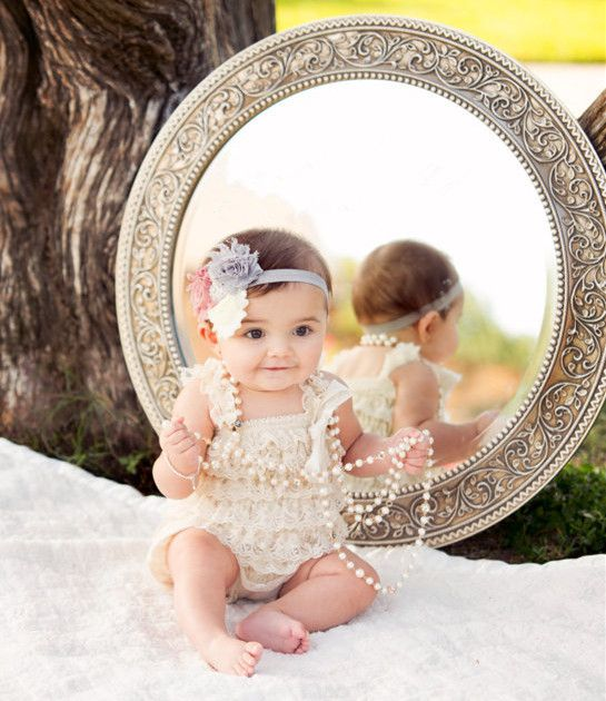 Infant/Baby/Toddler Ruffled Lace Petti Romper