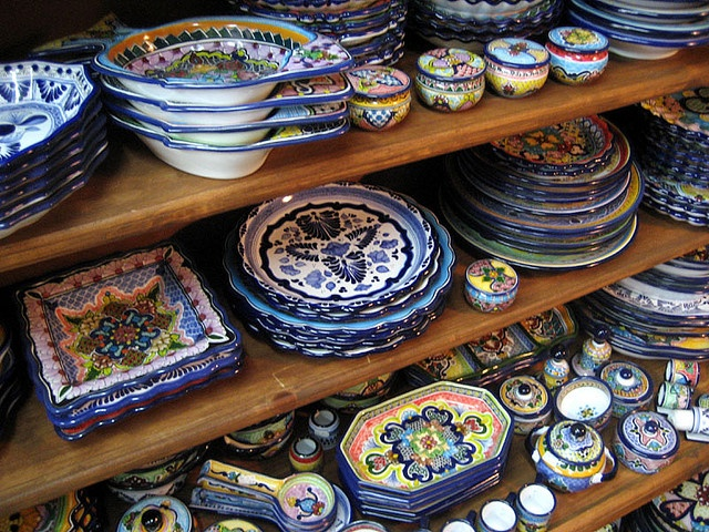This is a display of Talavera in my favorite shop in Ensenada, Bazaar Ramirez. It's also where I buy most of my gifts for the folks back in the states.