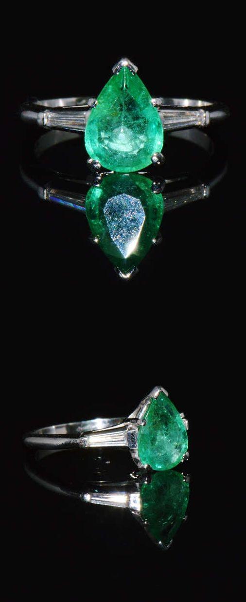 Emerald Ring - Emerald Diamond Ring - Colombian Emerald - Natural 1.6cts VS G Diamond Emerald Solid 900 Platinum Three Stone Engagement Ring