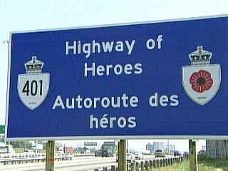 A section of highway 401 has been designated Highway of Heroes to honour Canada's fallen armed forces.