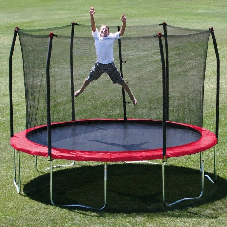 Trampoline With Enclosure 12' Round Safety Bancer Outdoor Excercise Fitness Red #OutdoorActivities