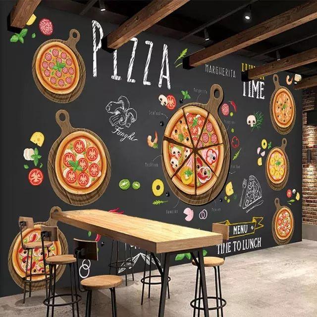 مخصص جداريات البيتزا متجر اليد رسمت مجردة البيتزا 3d صور خلفيات مقهى محل الحلوى الغربية مطعم ط Interiores Del Restaurante Diseno Pizzeria Decoracion De Comedor