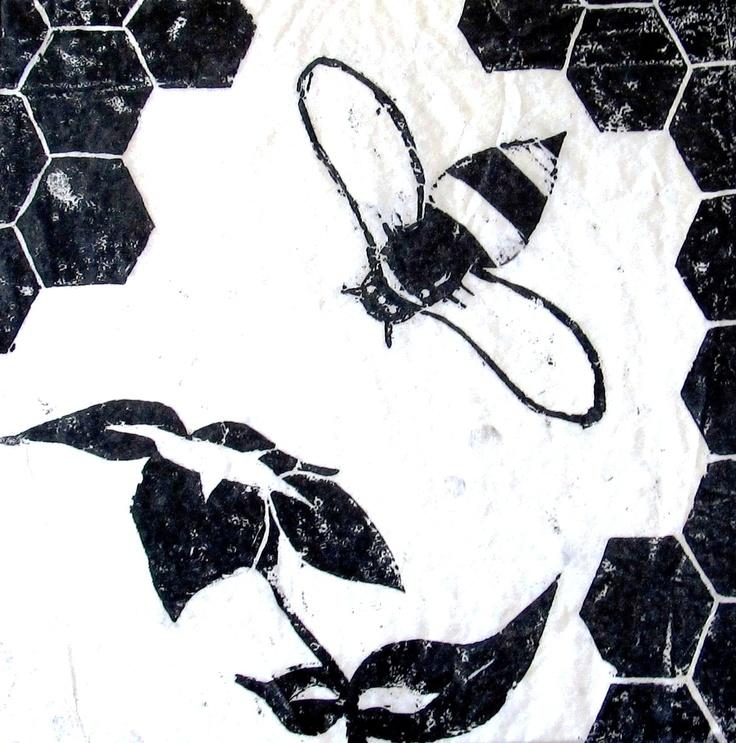 Bee woodcut, grabado en madera