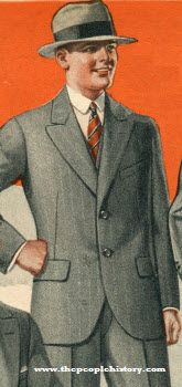 Gray Suit (1924) Price: $26.50  Description It's got everything that you could desire in an exceptionally smart looking suit. Made of fine grade all wool cassimere fabric. Cut in dressy English two-button style. Expertly tailored. Coat is half alpaca lined. Peaked lapels. Regular vest. Cuff bottom trousers. Choice of powder blue or light gray colors, with neat contrasting stripes. Two elegant materials.