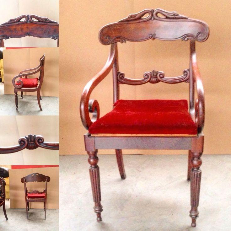 fauteuil de bureau  empire en acajou massif decor col de cygne .XX siècle .   eBay