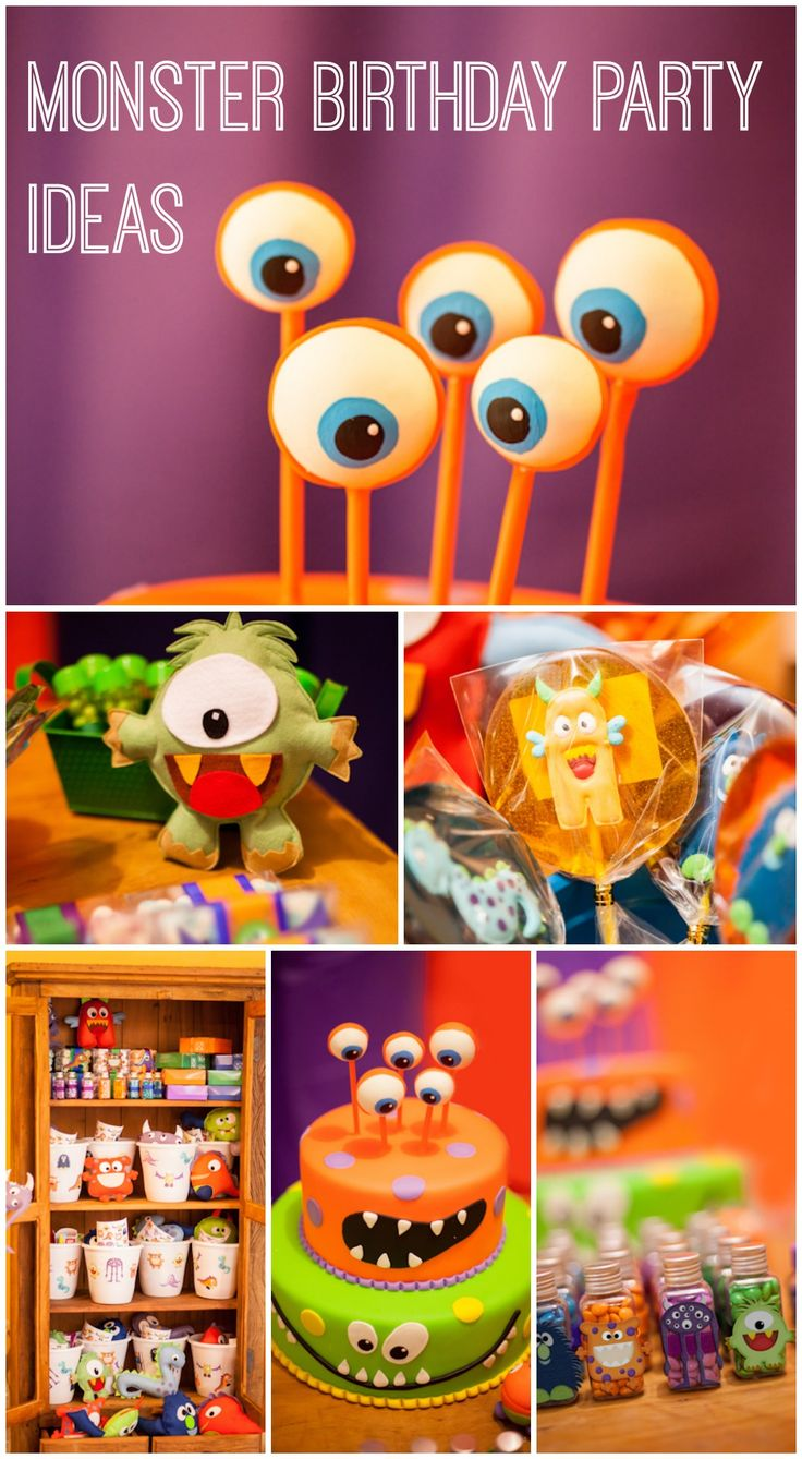 Cute monster birthday party ideas, perfect for a boy birthday! See more party ideas at CatchMyParty.com. #monsters #boybirthday