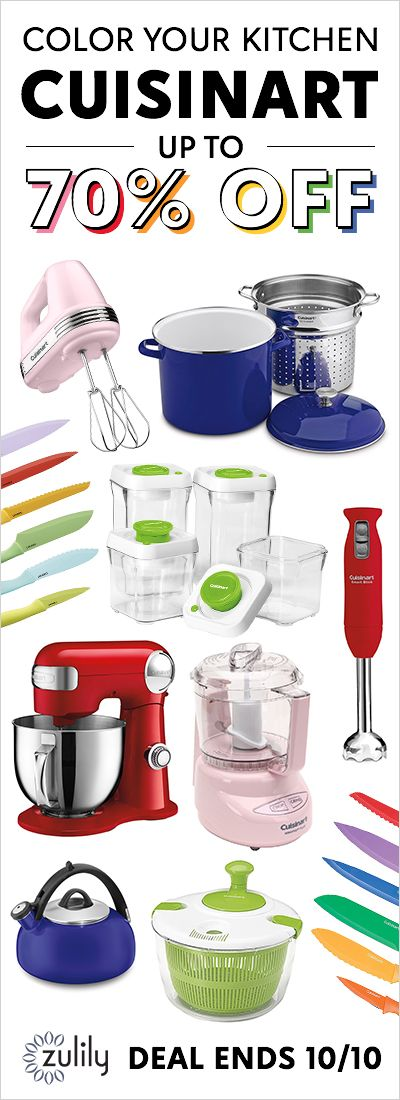 Sign up to shop Cuisinart kitchen appliances up to 70% off. Deal ends 10/10. Cue the kitchen envy with covet-worthy cookware and appliances from Cuisinart.