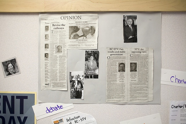 A bulletin board from Walnut Road Elementary, BC 2009 Provincial Student Vote.