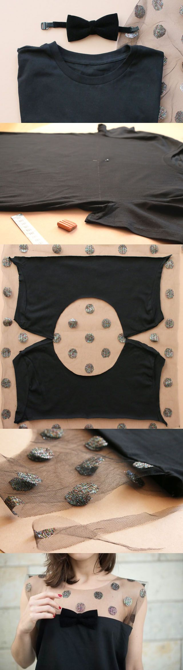 Mezcla de Jersey negro con una camiseta básica con lunares de tul  Qué necesitas:  - Una camiseta básica, - 1 lazo de terciopelo (accesorio de hombres) -1 metro de tul con lunares brillantes. - 1 metro de cinta para bordar - Hilo, agujas, tijeras, tiza de sastre y cinta métrica.