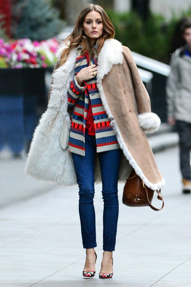 Olivia Palmero showcases the solid shearling trend this fall.
