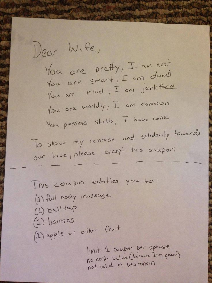 Husbands note demonstrates exactly how to apologize to your wife