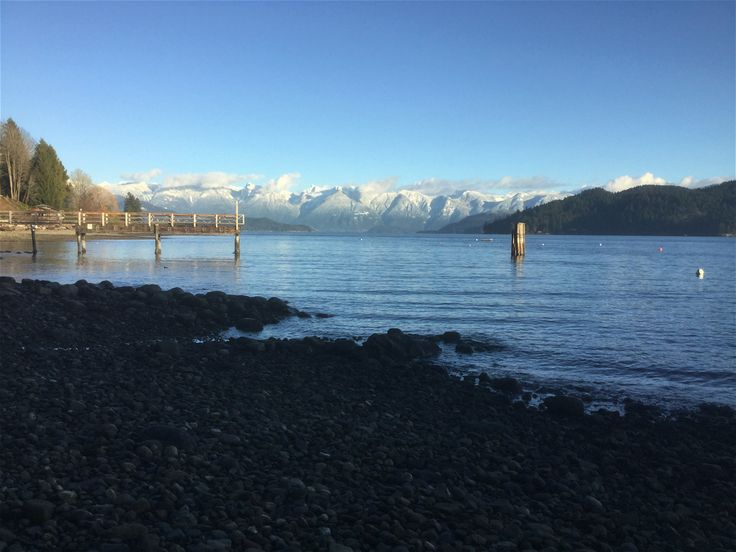 Beach, View of Coastal Mountains, Gibsons BC Canada