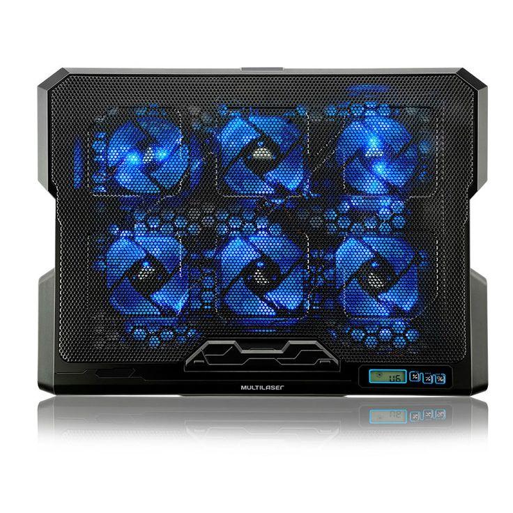 Suporte Notebook Cooler 17' 5 Ângulos 6 Coolers  Alta potência: 1500 rotações por minuto 5 ângulos ajustáveis de inclinação, favorece postura correta Painel de Controle: Alterne a velocidade e a iluminação dos coolers