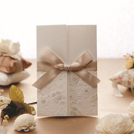 Weiss Klassisch Einladungskarten Hochzeit Mit Champagner Band KPL046